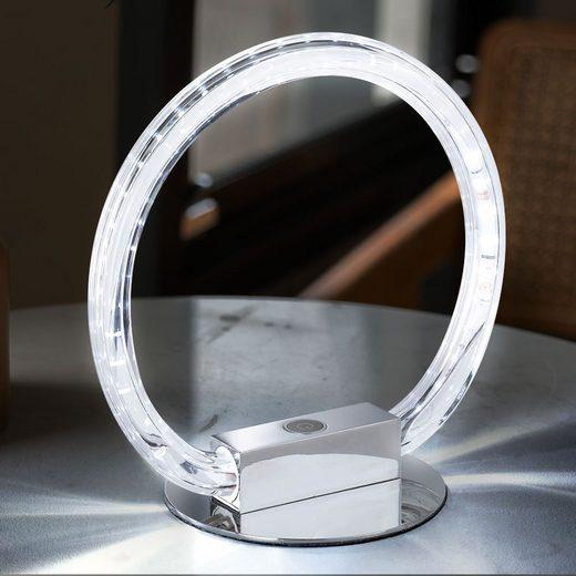 WOFI LED Nachttischlampe, Tischlampe Ringform Lampe Design Tischleuchte Nachtlicht, 3-Stufen-Touch und Dimmer, Metall Acryl Chrom, 1x LED 8W 700lm, B 30 cm