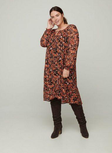 Zizzi Abendkleid Große Größen Damen Langarm Kleid mit Print und Unterkleid