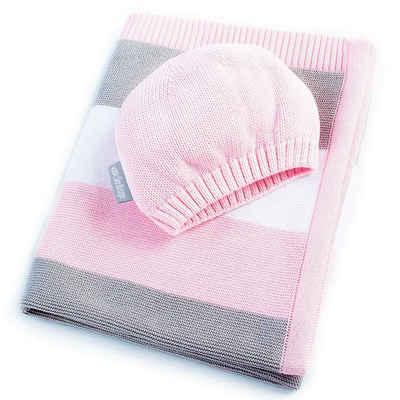 Babydecke »Strickdecke 90 x 70 cm«, SEI Design, inkl. einer Mütze