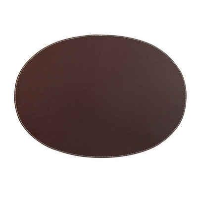 Platzset, ITA Leathercraft, ITA Leathercraft Leder Tischset KANON oval braun weiße Naht