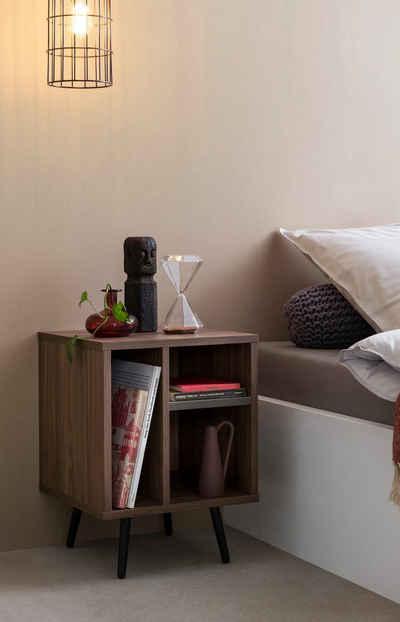 SalesFever Nachtkommode, in moderner Farbkombination von Walnuss und Grau