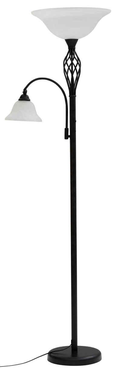 Home affaire Stehlampe »Rudi«, Stehleuchte / Deckenfluter aus massivem Metall im Landhaus-Stil, Leselicht getrennt schaltbar