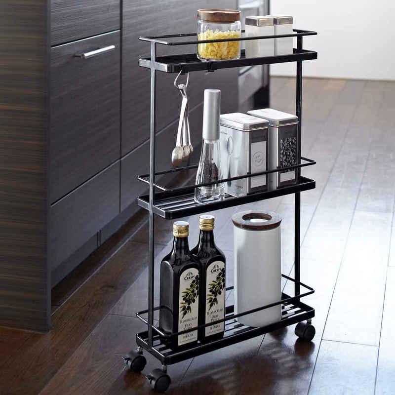 Yamazaki Küchenwagen »Slim«, Rollwagen, 3 Ebenen, auf Rollen, Metall schwarz, schmal, 12x66x38cm