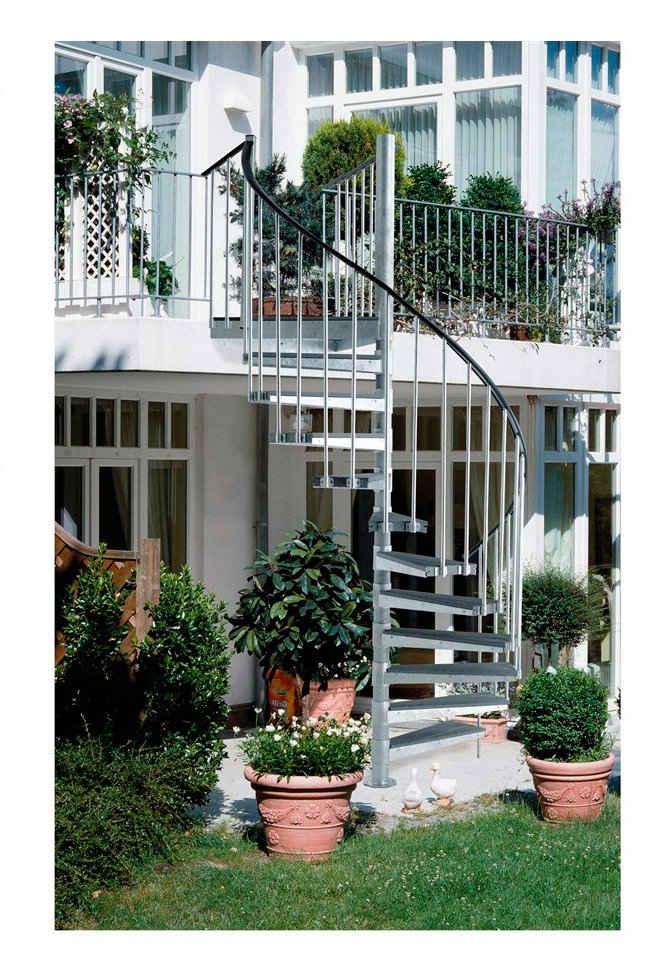 Dolle Außentreppe, für Geschosshöhen bis 276 cm, Stufen offen, Ø: 155 cm