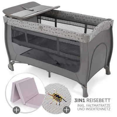 Hauck Baby-Reisebett »Set Sleep'n Play Center - Nordic Grey«, 7-tlg., inkl. Wickelauflage, Alvi Komfort Reisebett Matratze & Insektenschutz