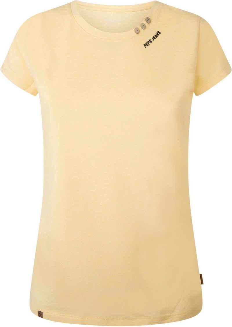 Pepe Jeans Print-Shirt »NEW VIRGINIA« in unifarbenem Design in toller Basic Passform mit kleinen Knöpfen am Ausschnitt und Marken-Logo-Print