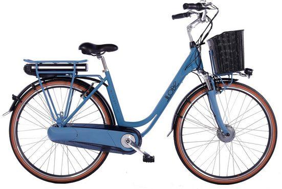 LLobe E-Bike »Blue Motion 2.0, 15,6Ah«, 7 Gang Shimano, Nabenschaltung, Frontmotor 250 W, (mit Fahrradkorb)
