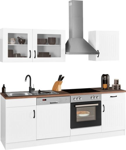 HELD MÖBEL Küchenzeile »Athen«, mit E-Geräten, Breite 220 cm, mit hochwertigen MDF Fronten
