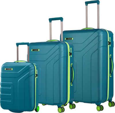 travelite Trolleyset »Vector, Petrol/Limone«, (Set, 3 tlg)