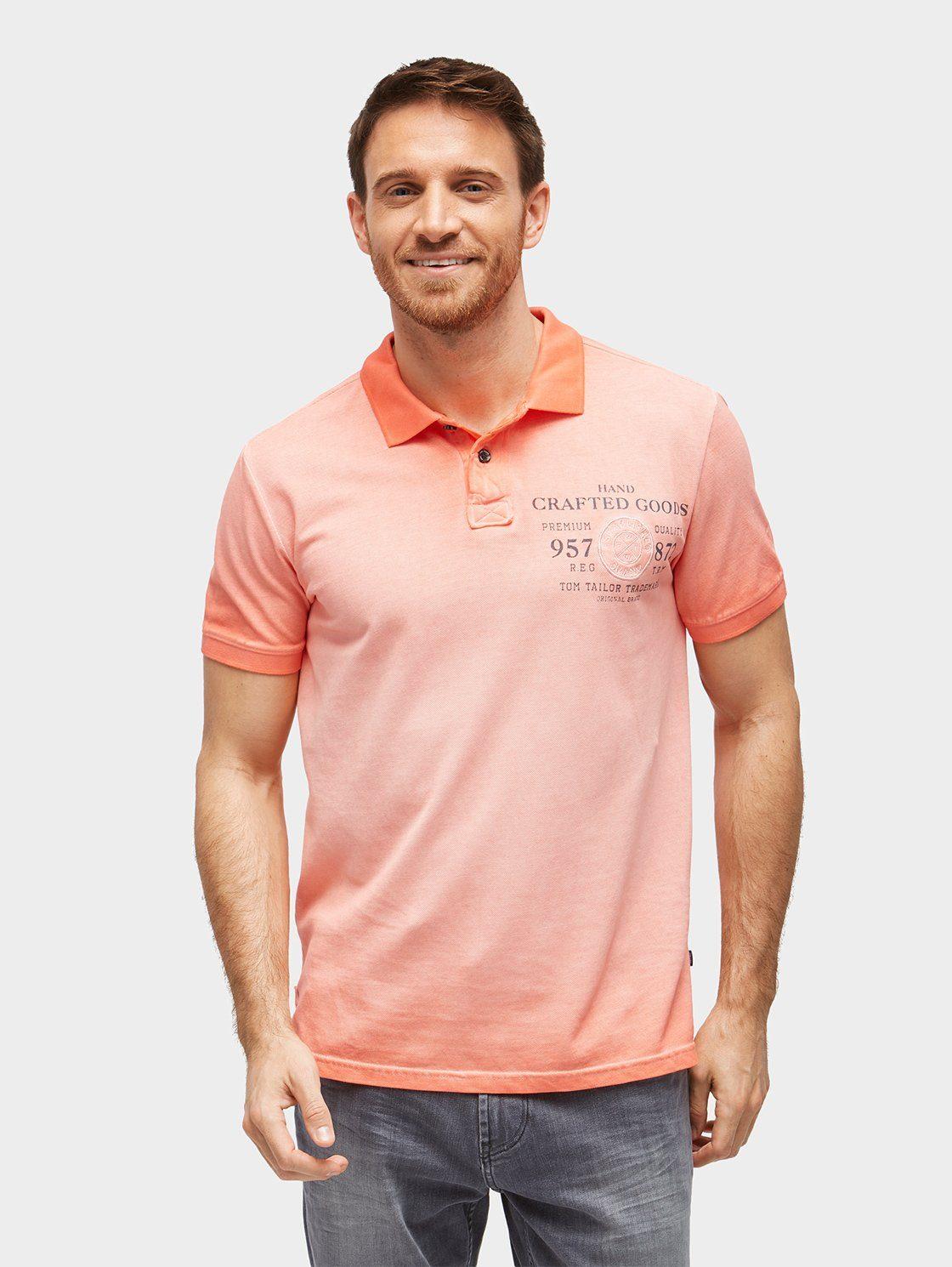 TOM TAILOR T-Shirt »Poloshirt mit auffälliger Waschung«
