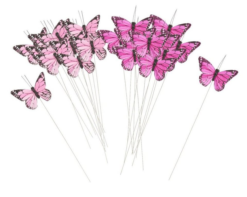federschmetterling am draht pink 24 st ck kaufen otto. Black Bedroom Furniture Sets. Home Design Ideas