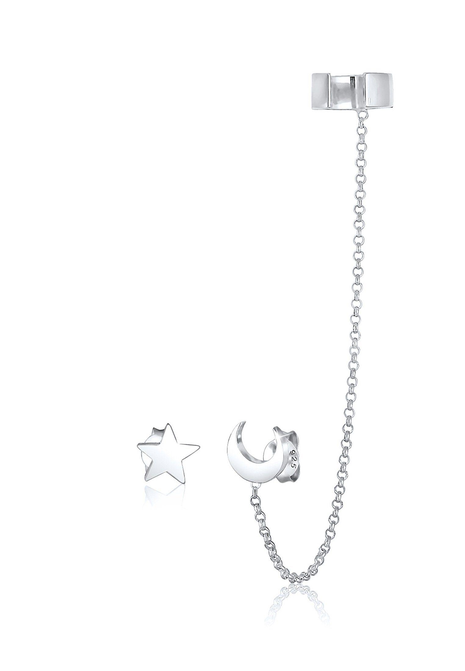 Elli Ohrclip »Earcuff Astro Sterne Halbmond Blogger 925 Silber«