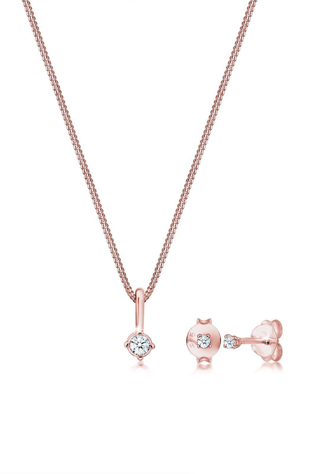 Diamore Ohrring und Ketten Set »Set: Edles Basic Solitär Diamant (0.10 ct) 925 Silber« (Set, 2 tlg)
