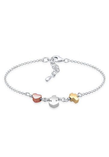 Elli Armband »Herz Anker Kreuz Tri-Color Symbol Trio 925 Silber«