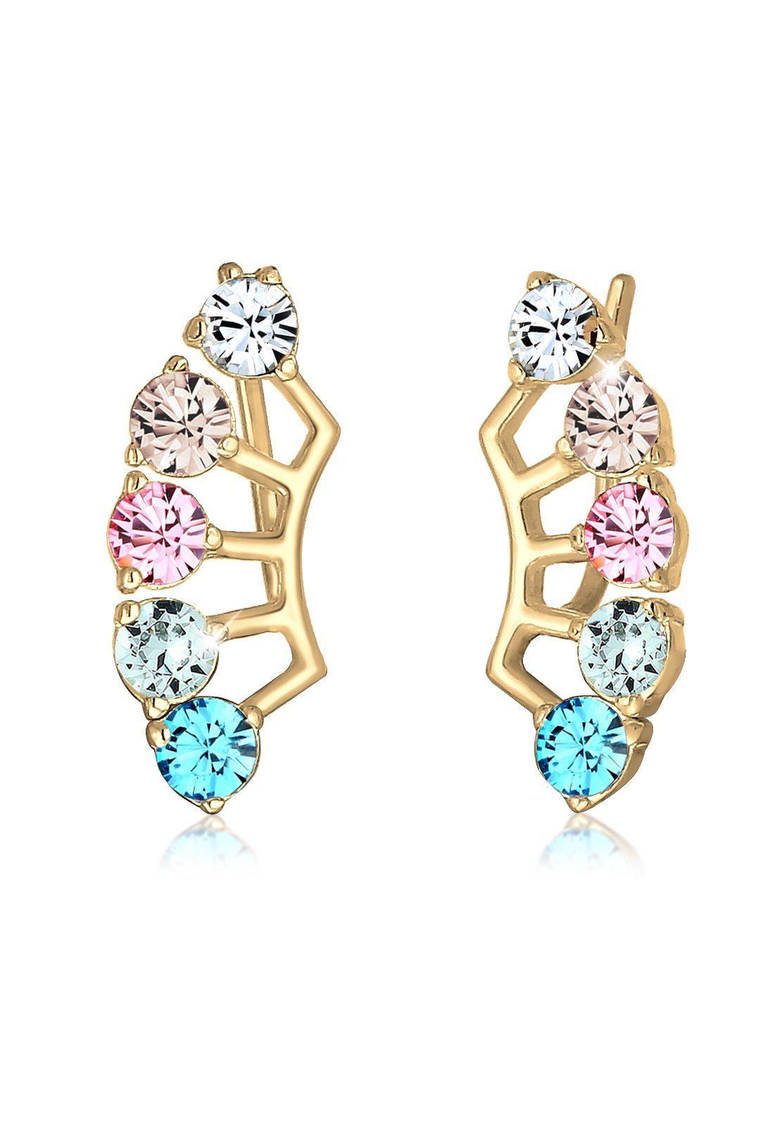 Elli Paar Ohrhänger »Earcuff Multi Color Swarovski® Kristalle Silber«