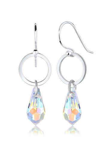 Elli Paar Ohrhänger »Geo Kreis Tropfen Swarovski® Kristalle 925 Silber«