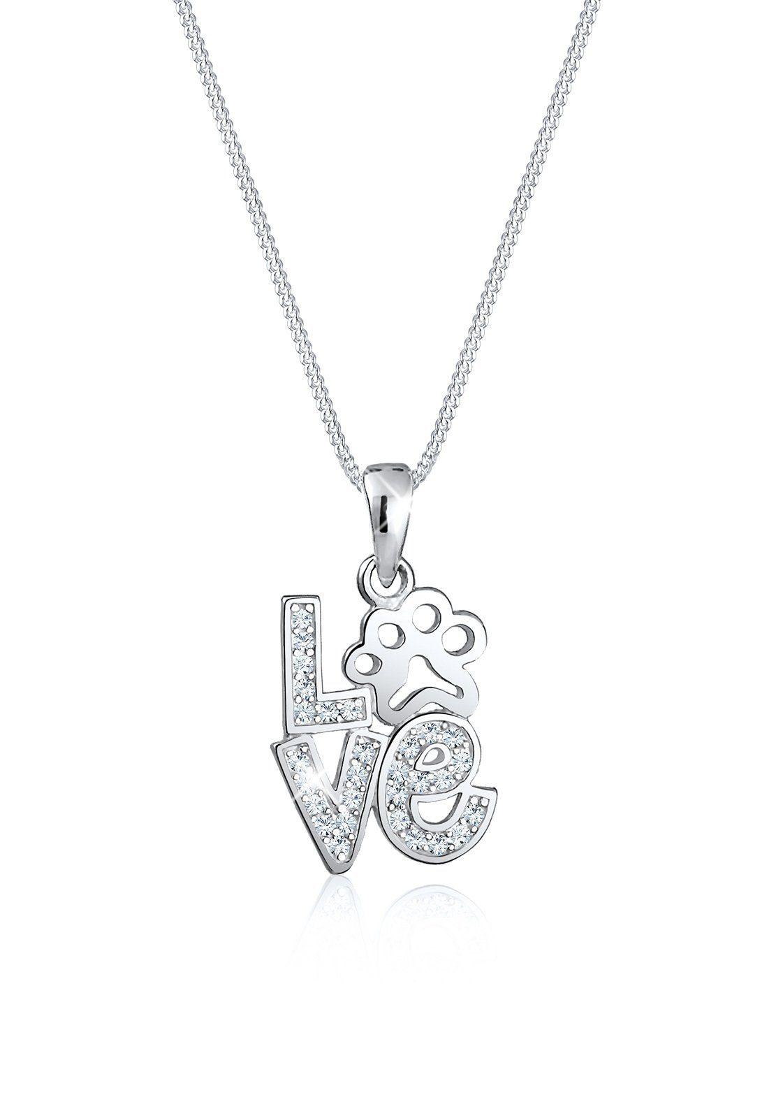 Elli Collierkettchen »Love Schriftzug Pfote Swarovski® Kristalle Silber«