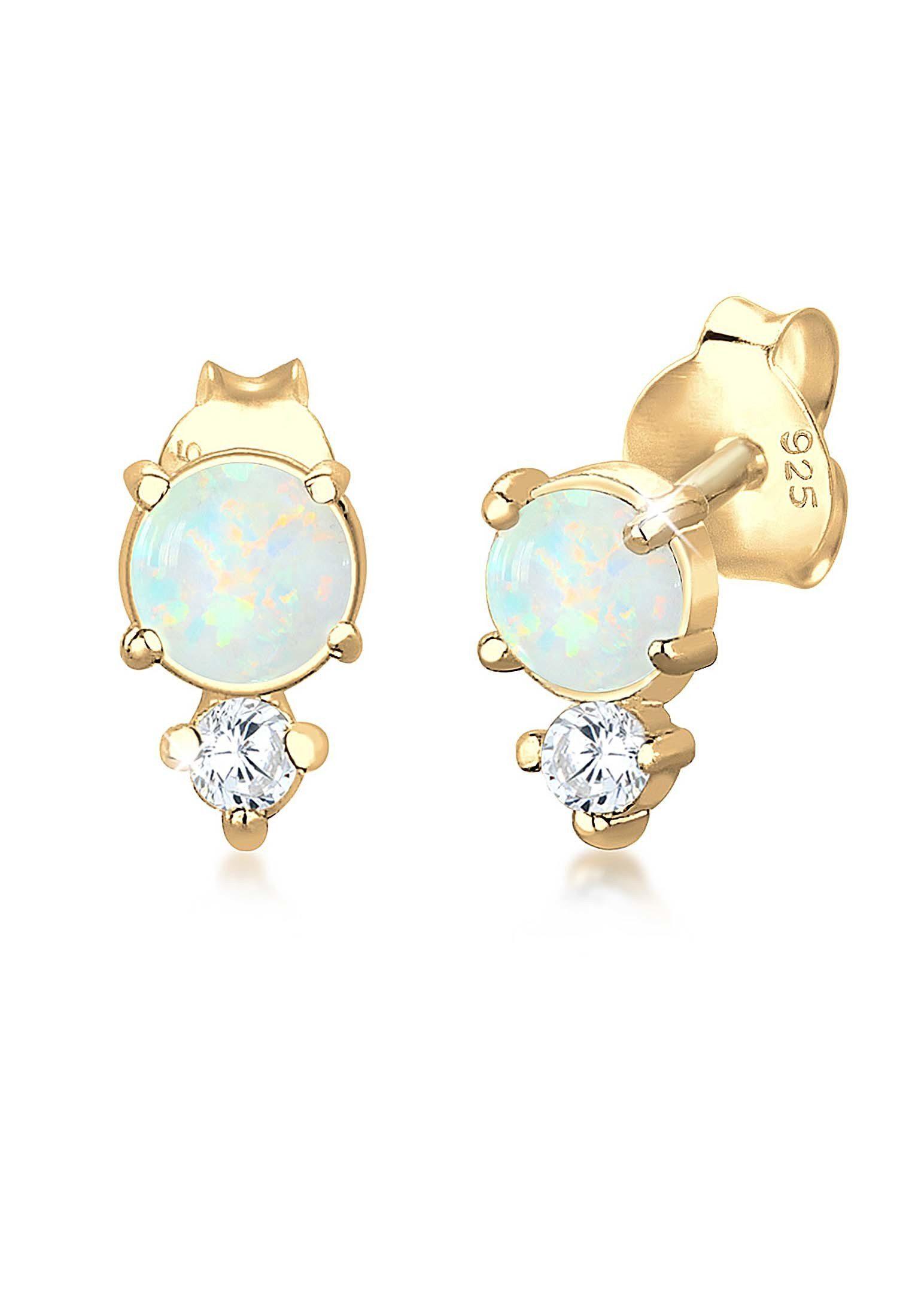 Elli Paar Ohrstecker »Geo Kreis Zirkonia Opal Trend 925 Sterling Silber«