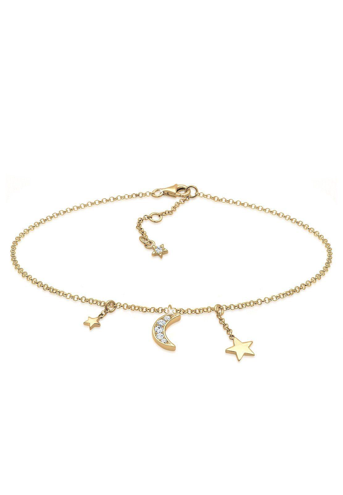 Elli Fußkette »Astro Sterne Halbmond Swarovski® Kristalle Silber«