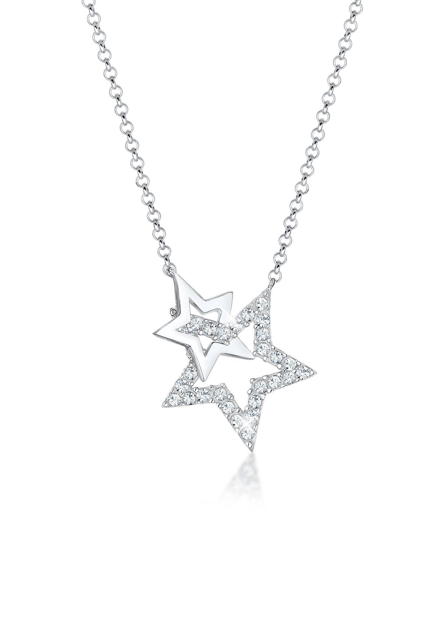 Elli Collierkettchen »Stern Astro Swarovski® Kristalle 925 Silber«