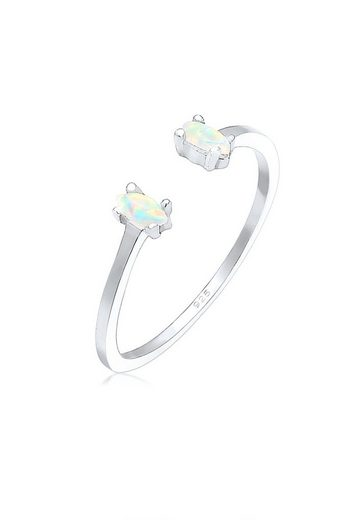 Elli Fingerring »mit Opal Oval Offen Verstellbar 925 Silber«