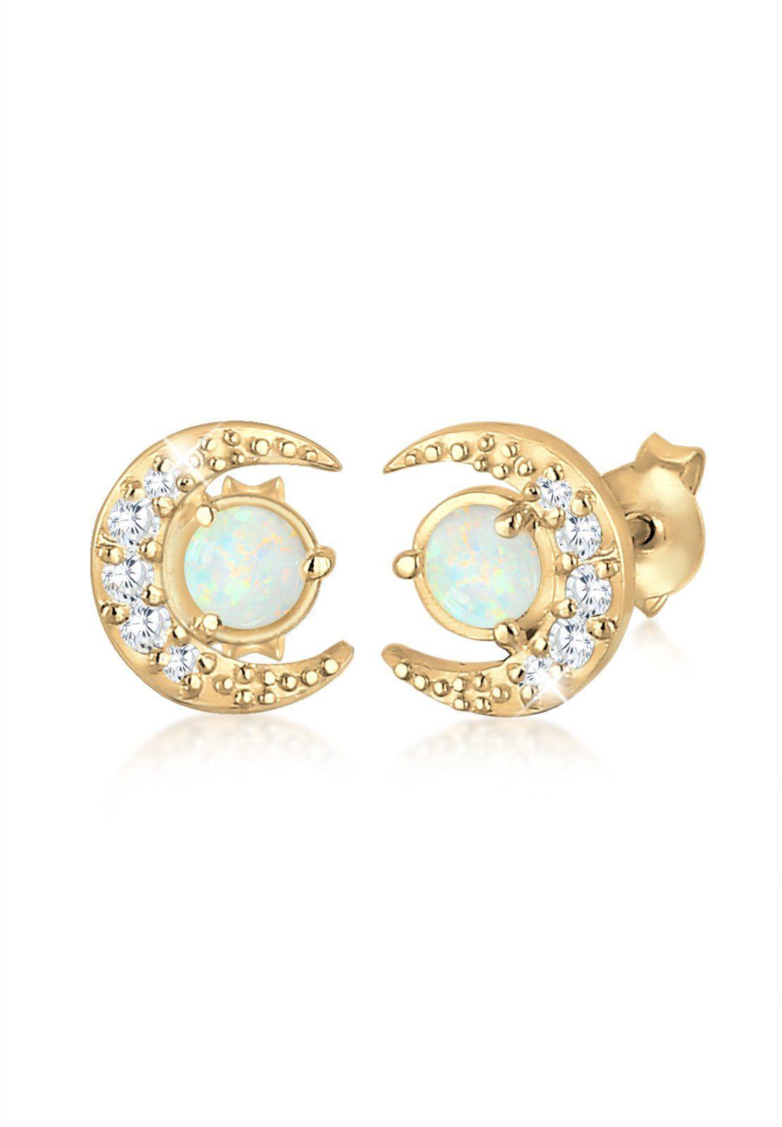 Elli Paar Ohrstecker »Halbmond Geo Opal Swarovski® Kristalle 925 Silber«