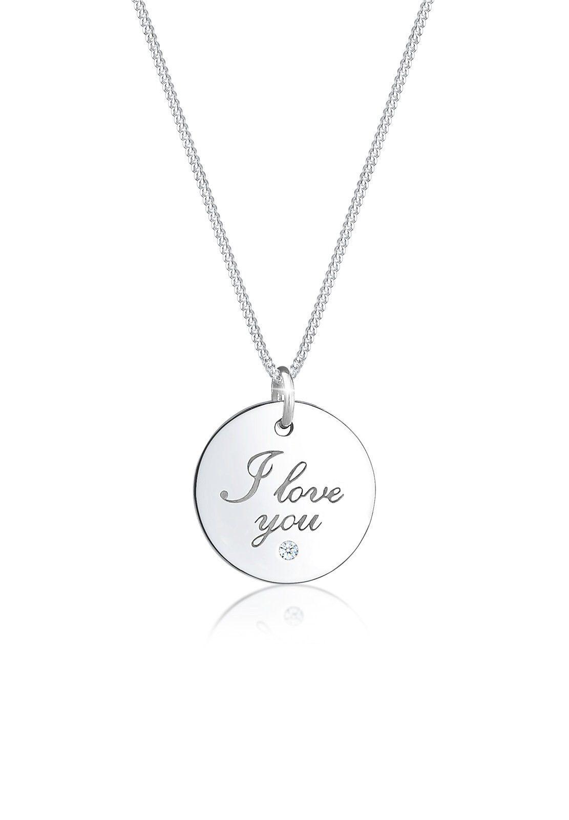 Elli Collierkettchen »I Love You Wording Diamant (0.02 ct) 925 Silber«