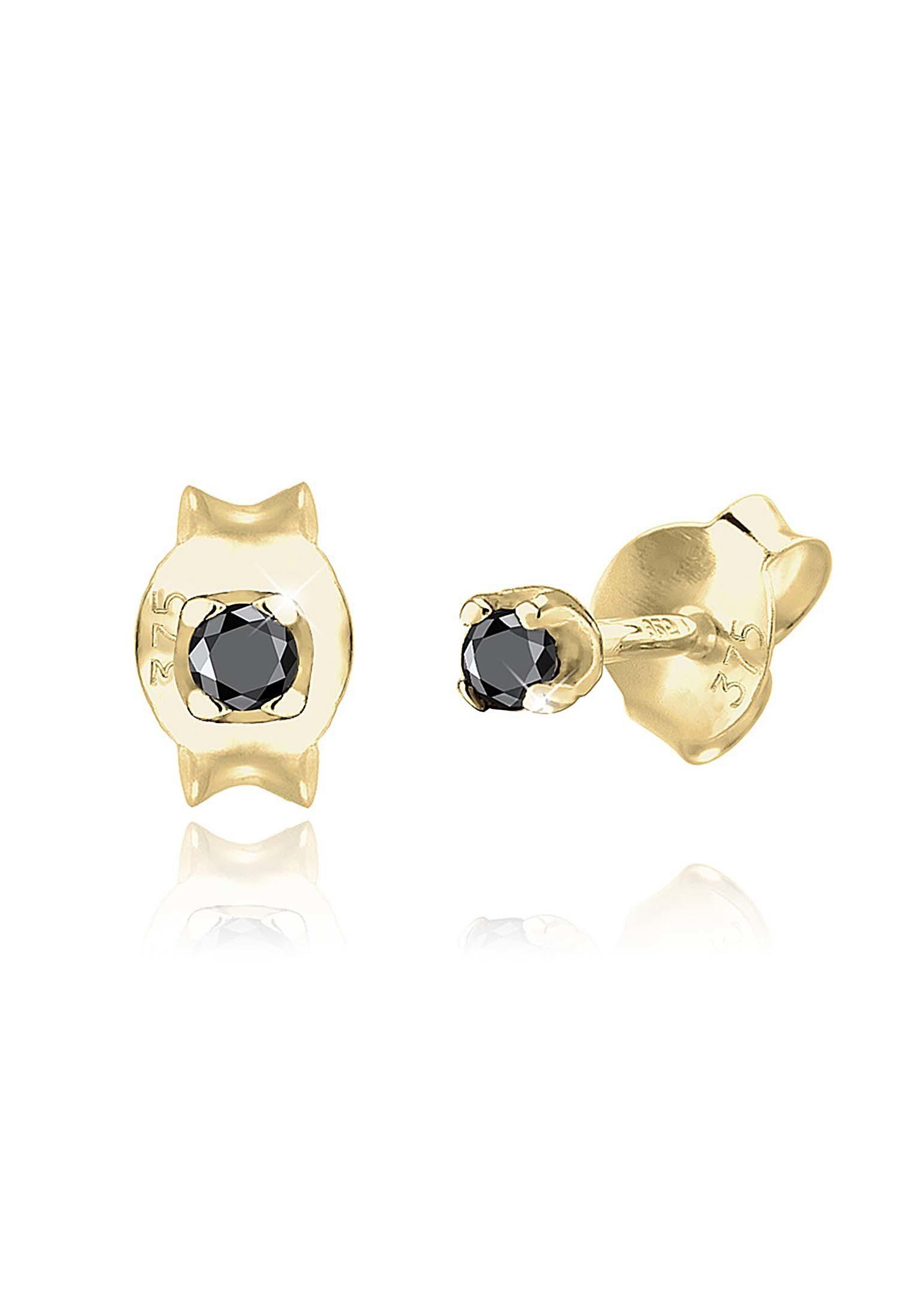 Elli Paar Ohrstecker »Stecker Schwarzer Diamant (0.03 ct) 375 Gelbgold«