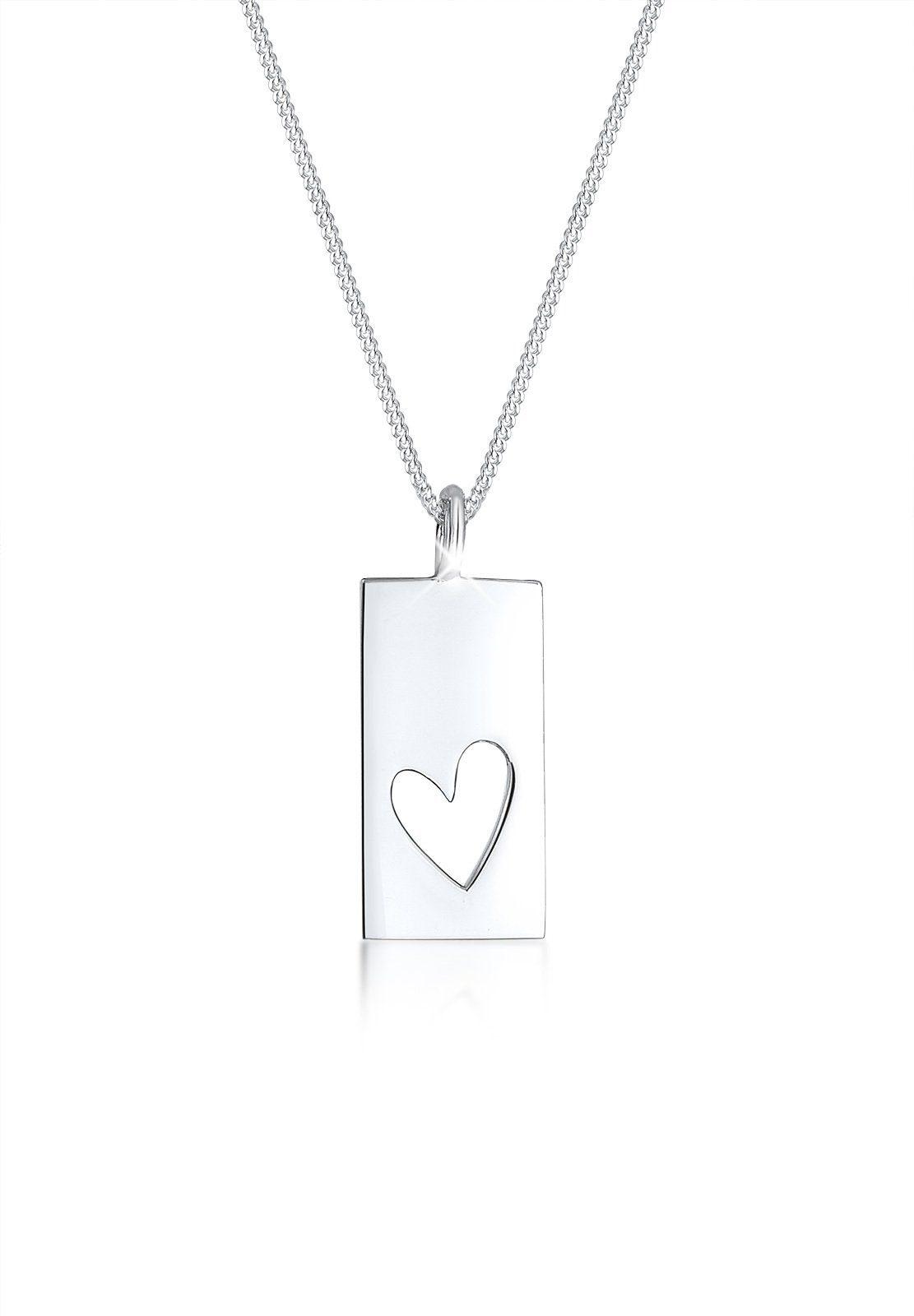 Elli Collierkettchen »Cut-Out Herz Geo Matt Trend Anhänger 925er Silber«