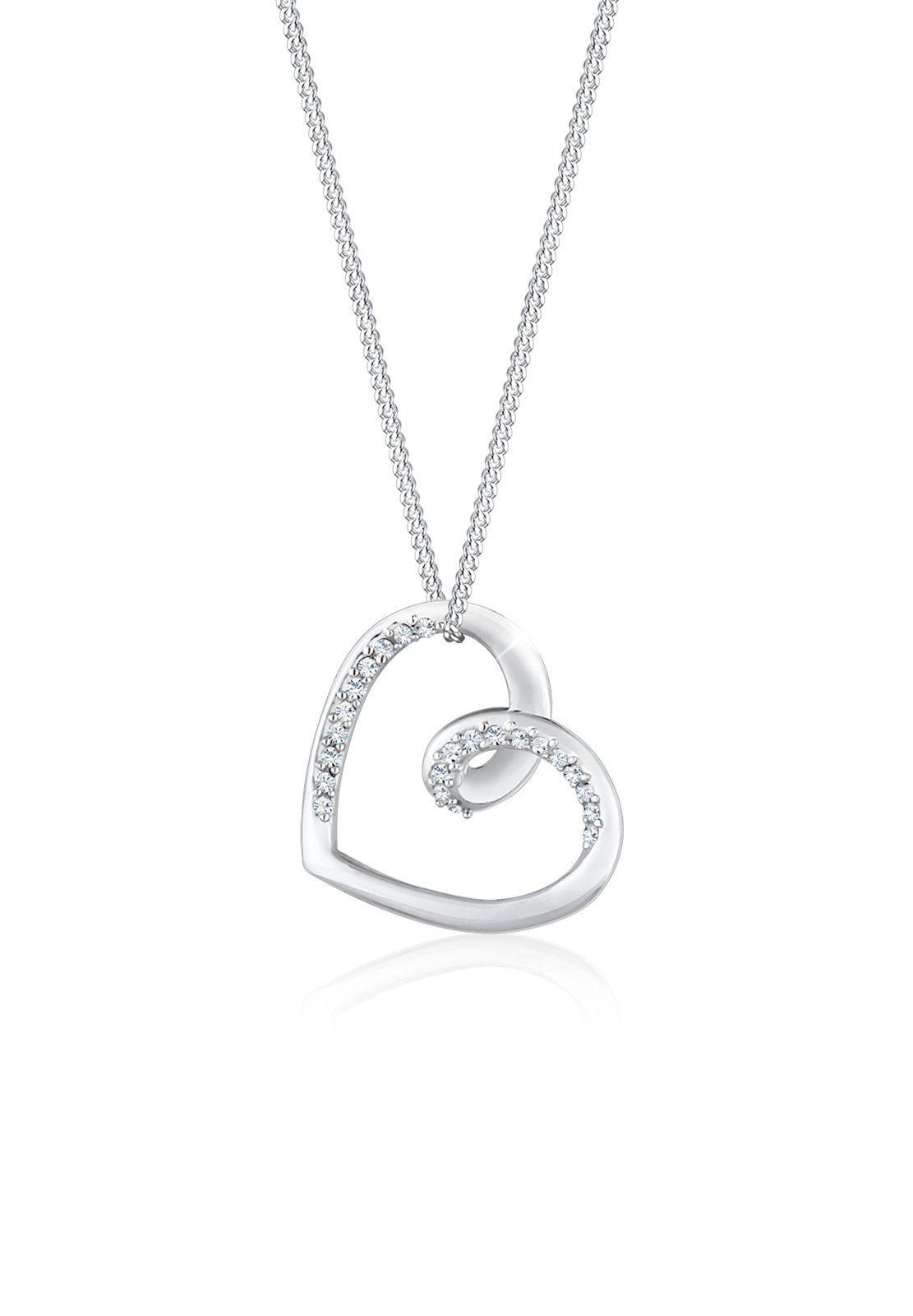Elli Collierkettchen »Herz Anhänger Swarovski® Kristalle 925 Silber«