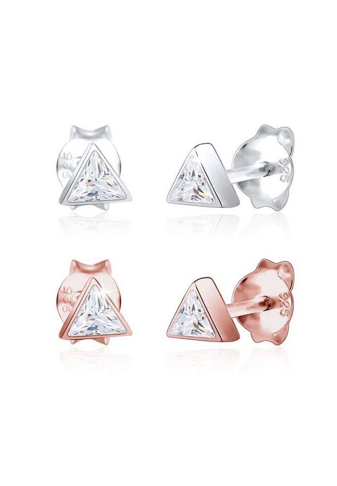 Elli Paar Ohrstecker »Set Dreieck Geo Bi-Color Zirkonia Trend 925 Silber« | Schmuck > Ohrschmuck & Ohrringe > Ohrstecker | Elli