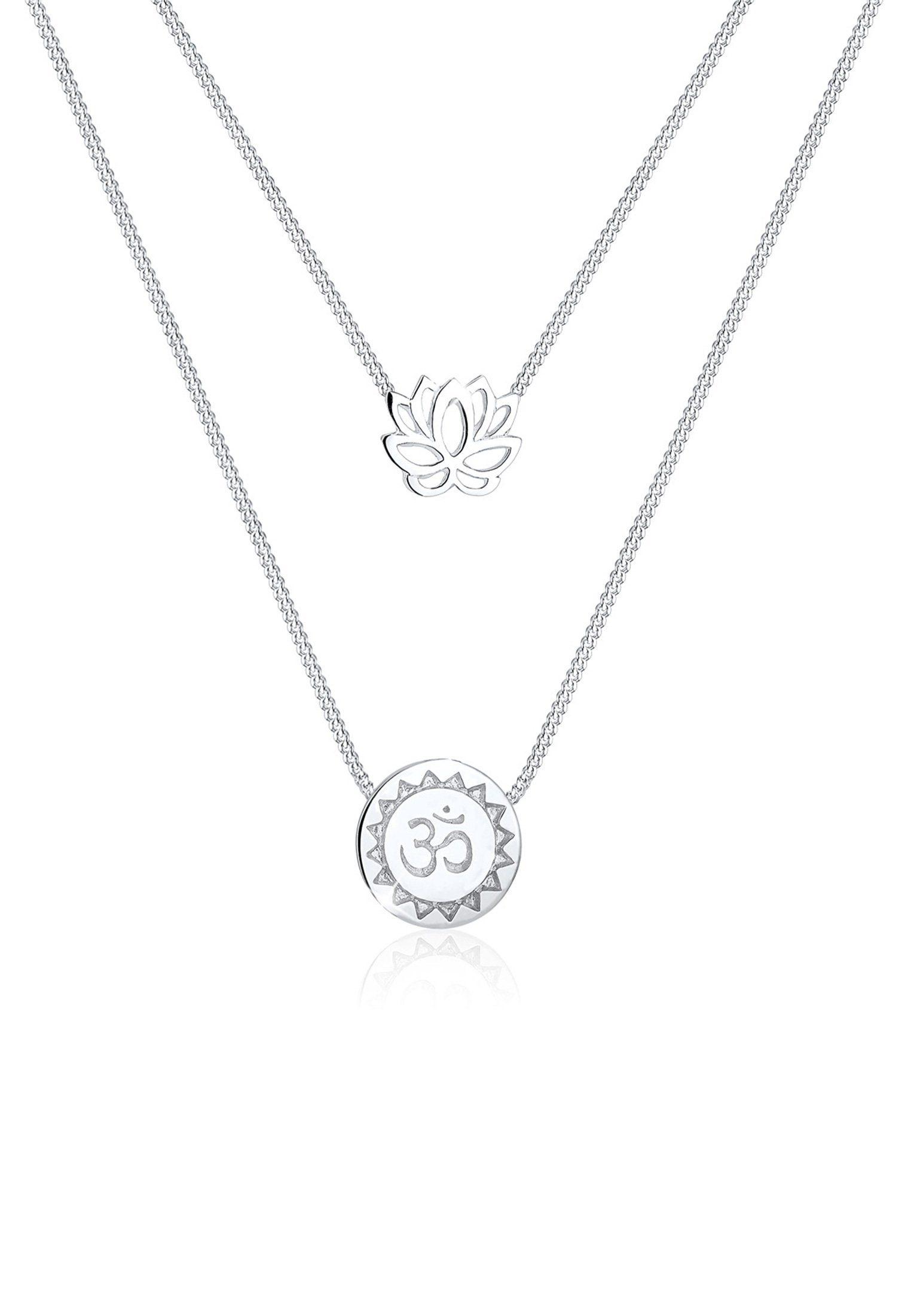Elli Collierkettchen »Lotusblume Om Symbol Yoga Mantra Layer 925 Silber«