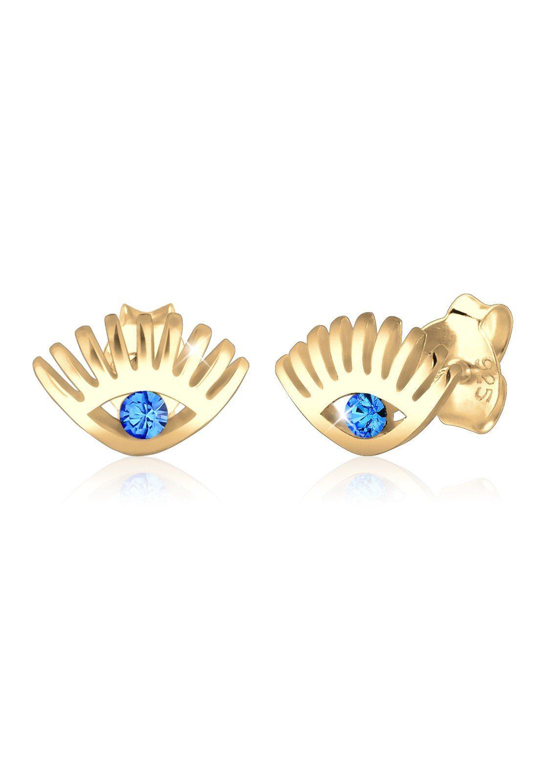 Elli Paar Ohrstecker »Evil Eye Swarovski® Kristalle 925 Sterling Silber«