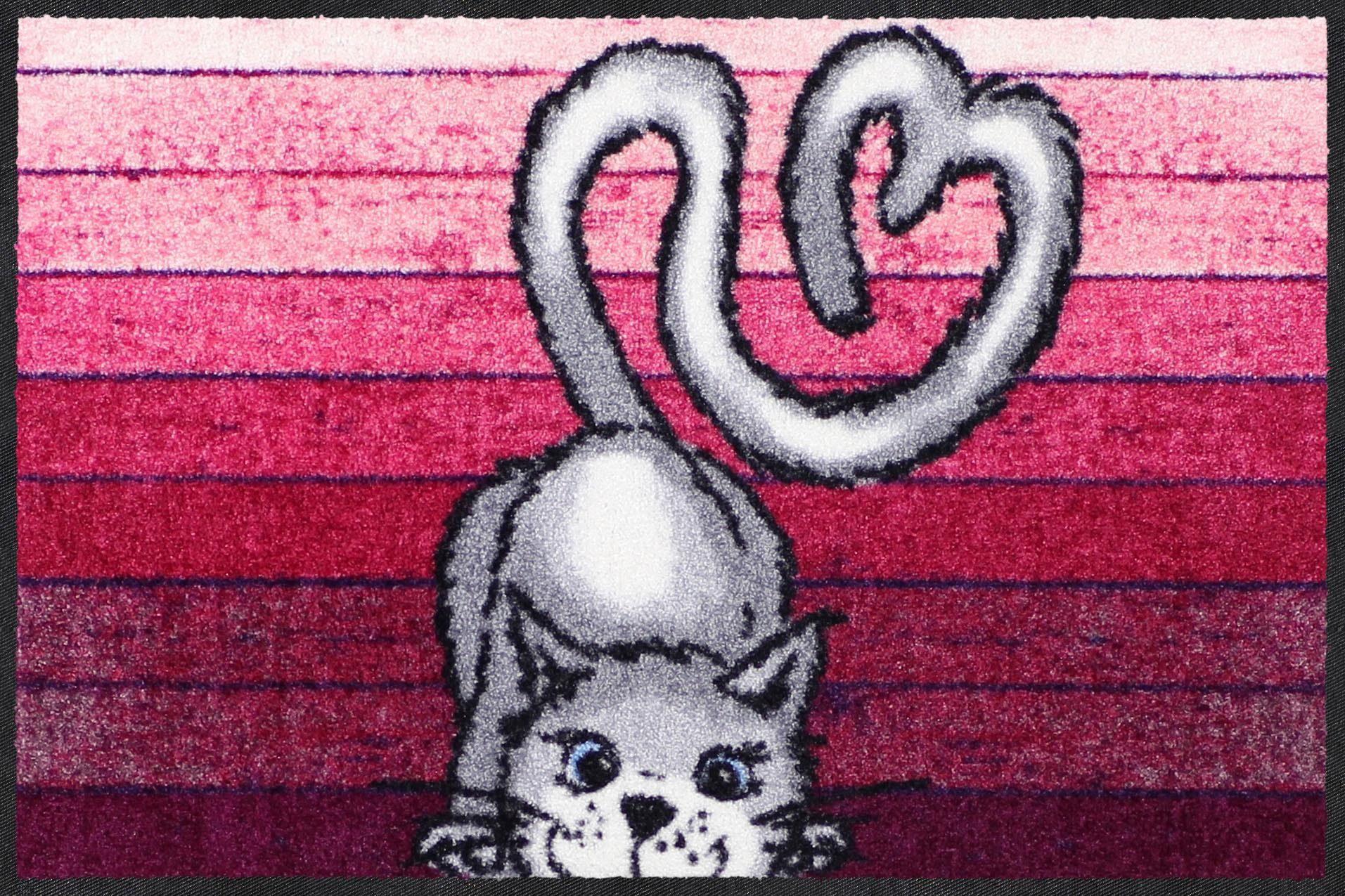 Fußmatte »Love Cat«, Salonloewe, rechteckig, Höhe 7 mm