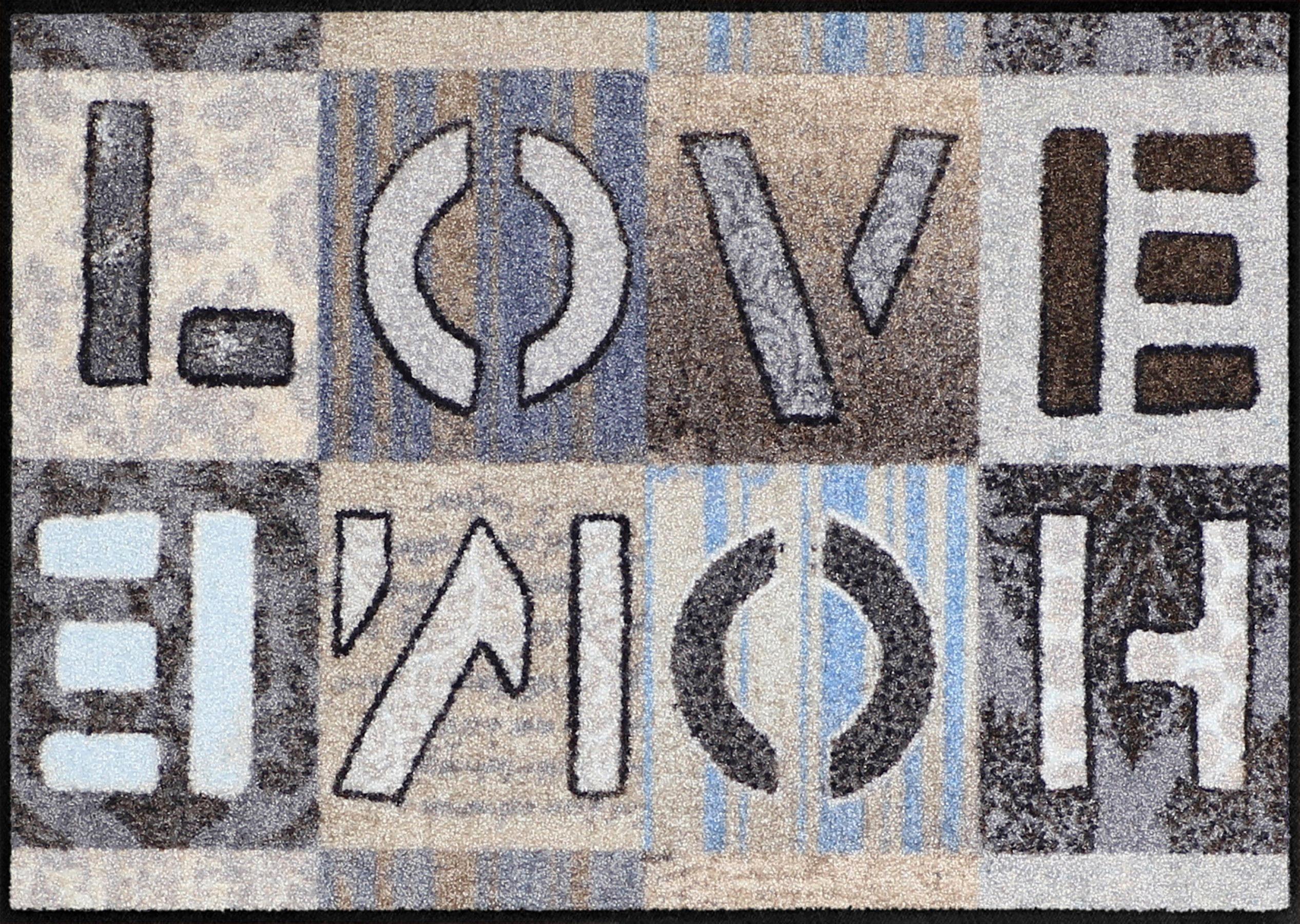 Fußmatte »Love Home Squares«, Salonloewe, rechteckig, Höhe 7 mm