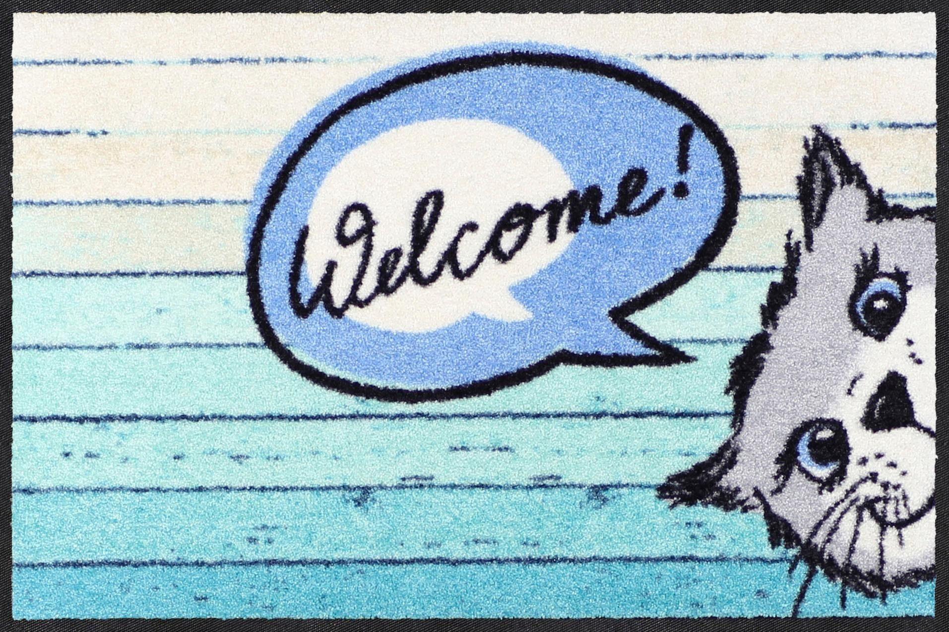 Fußmatte »Welcome Cat«, Salonloewe, rechteckig, Höhe 7 mm