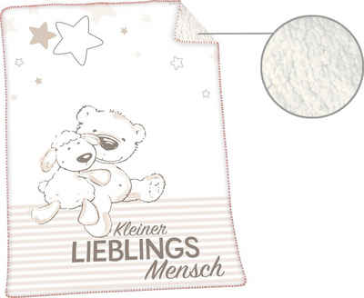 Babydecke »Jonas Lieblingsmensch«, Herding, mit niedlichem Motiv