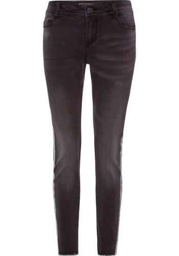 Damen BROADWAY NYC FASHION Ankle-Jeans Julie mit Fransen am Saum grau   04059203475036