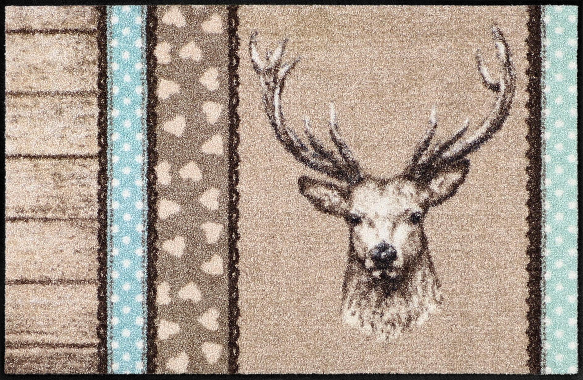 Fußmatte »Hirsch Holz Patch«, Salonloewe, rechteckig, Höhe 7 mm, In- und Outdoor geeignet