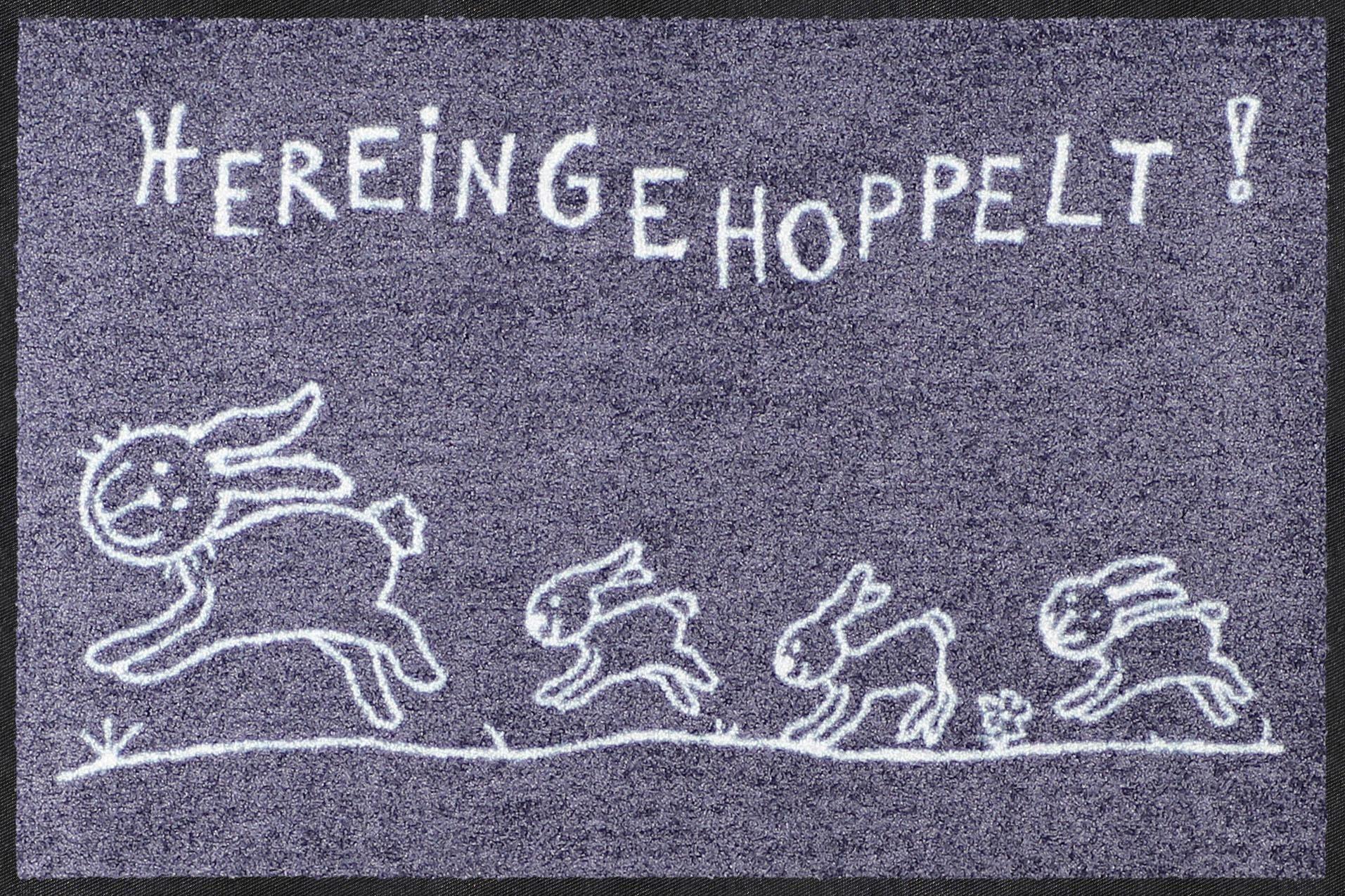 Fußmatte »Hereingehoppelt«, Salonloewe, rechteckig, Höhe 7 mm