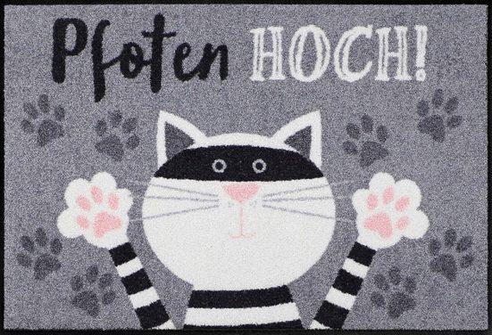 Fußmatte »Pfoten hoch Katze«, Salonloewe, rechteckig, Höhe 7 mm, In- und Outdoor geeignet