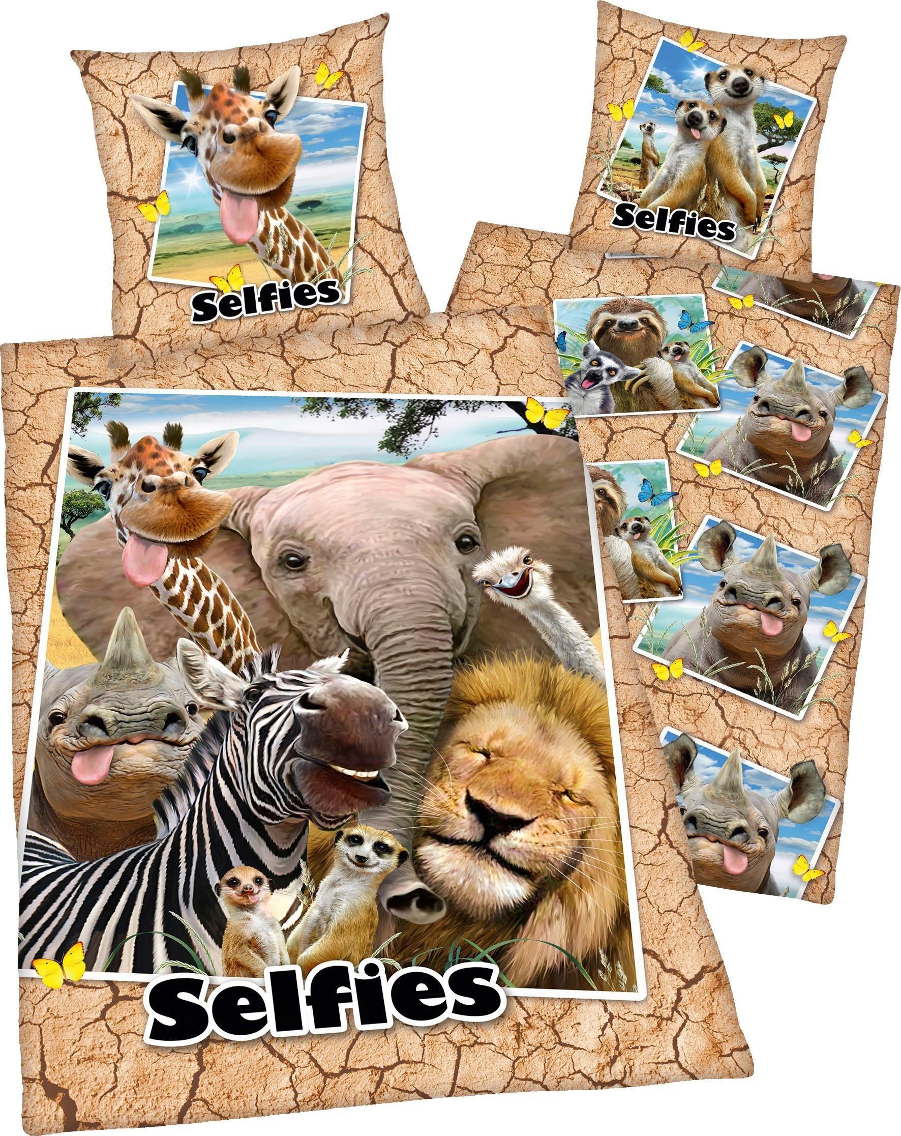 Kinderbettwäsche »Selfies Zootiere«, mit Zootieren   Kinderzimmer