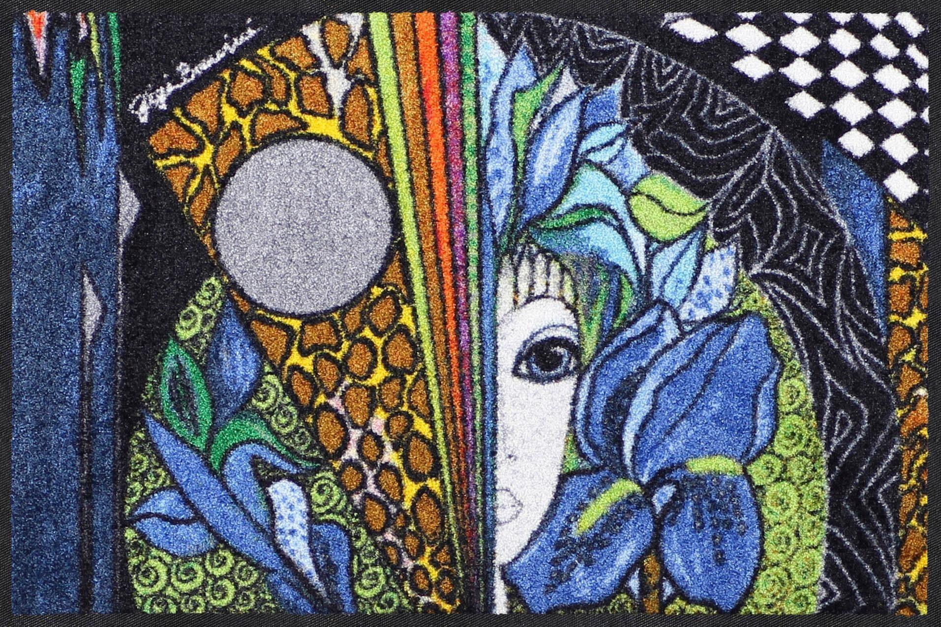 Fußmatte »Blaue Blume«, Salonloewe, rechteckig, Höhe 7 mm