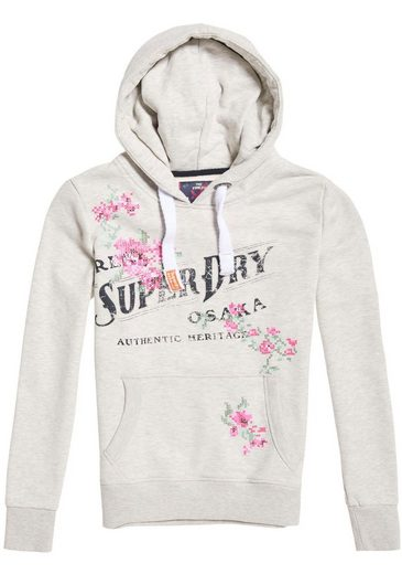 Superdry Kapuzensweatshirt »ARIZONA PUFF EMBROIDERY ENTRY HOOD« mit floralem Logo-Print