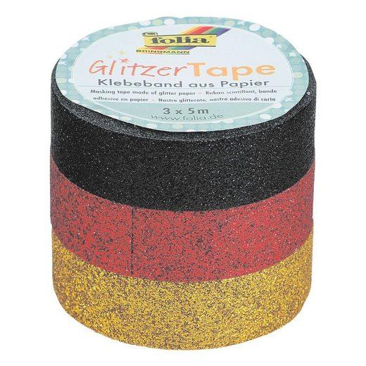 Folia 3er Set Deko-Klebeband Glitzer-Tape »schwarz, rot, gold«
