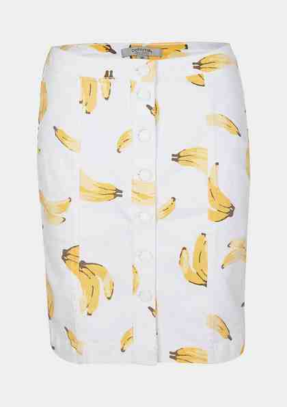 COMMA Kurzer Jeansrock mit Bananen-Alloverprint