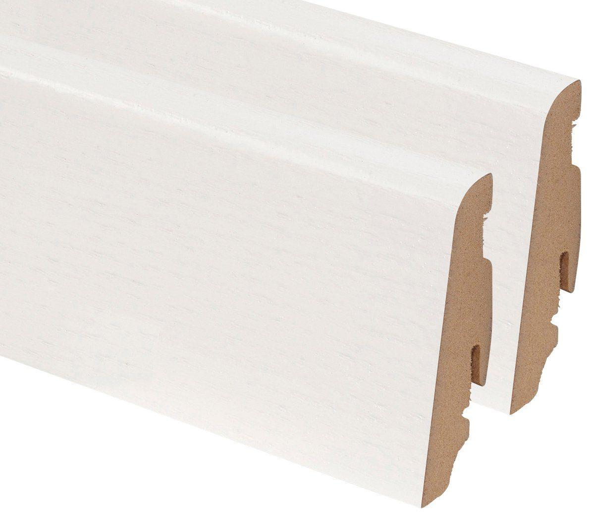 BODENMEISTER Set: Sockelleiste »Echholz Esche weiß«, 2er-Pack, Höhe: 5,8 cm