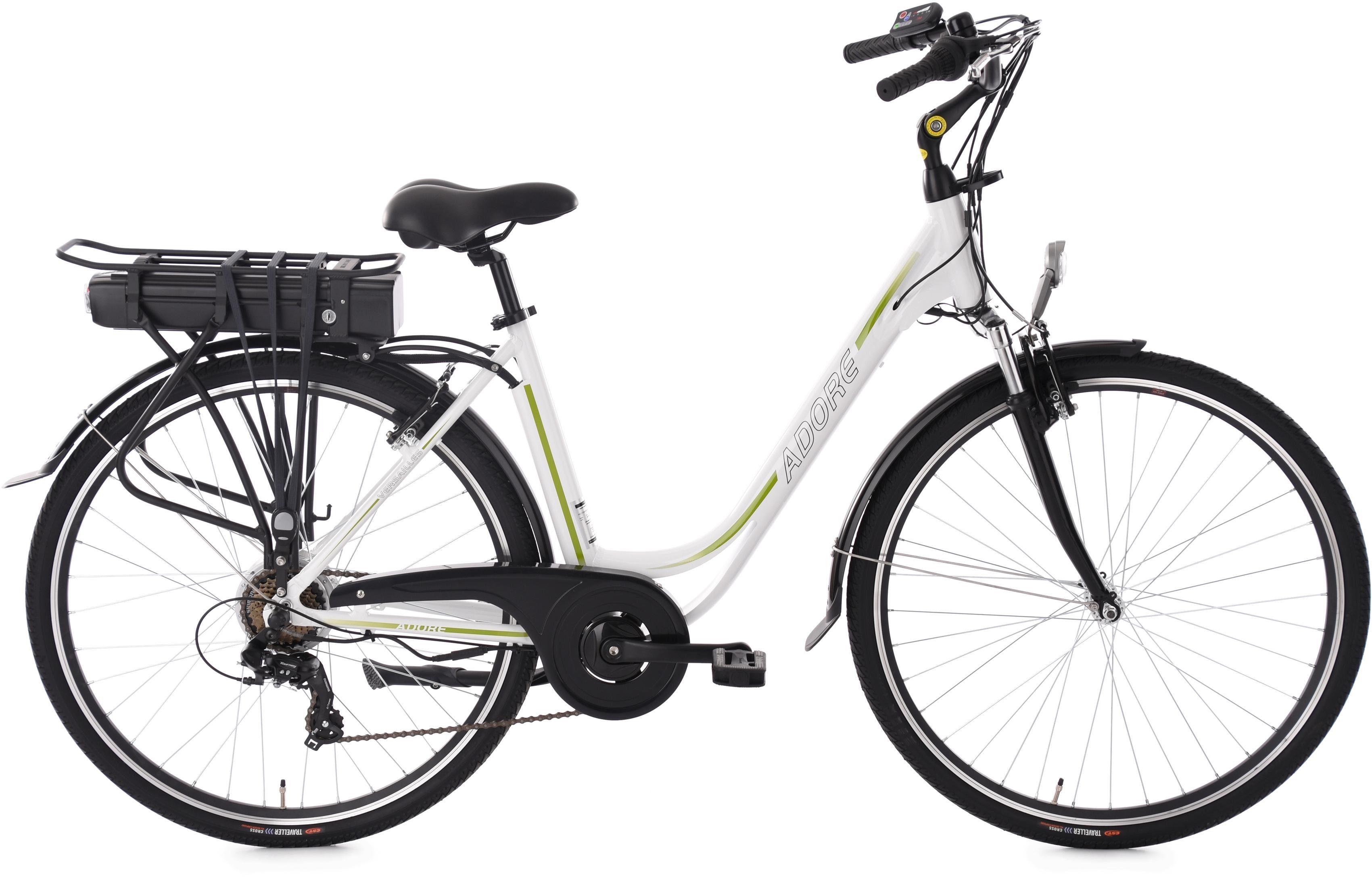 Adore Damen-E-Bike City, 28 Zoll, 7 Gänge, 250 Watt Li-Ion, 36V/10,4 Ah, weiß-grün, »Versailles«