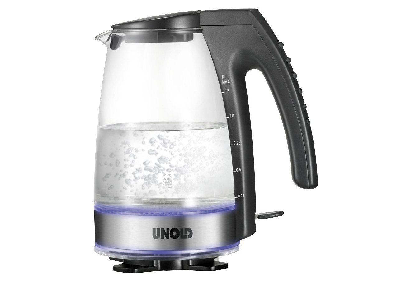 Unold Glas-Wasserkocher 18590 für 1,2 Liter, 2300 Watt