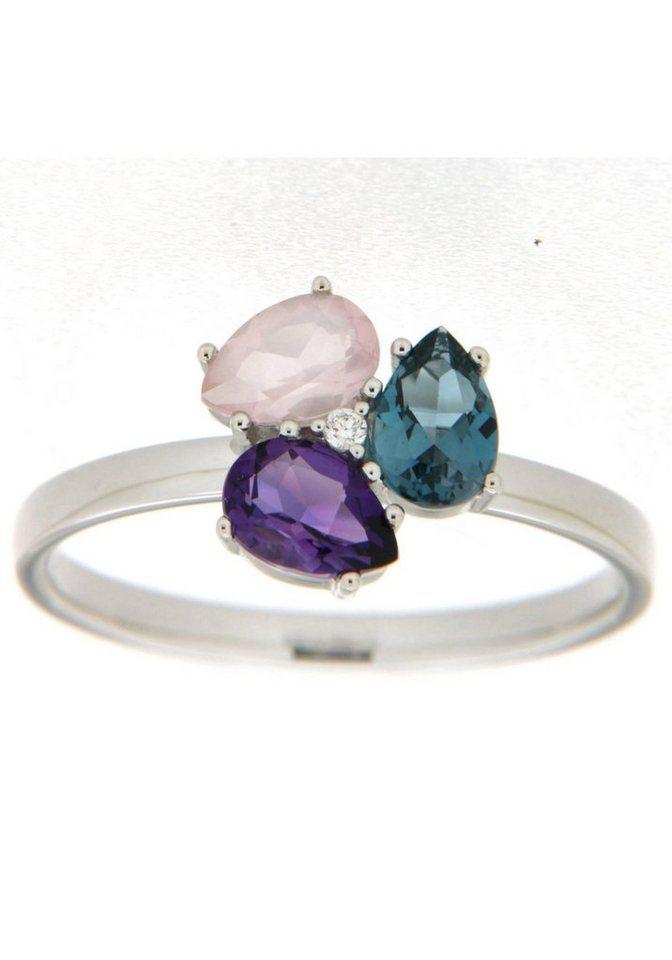 Damen Vivance jewels  Diamantring mit Brillant Amethyst Blautopas und Rosenquarz    04041633037380